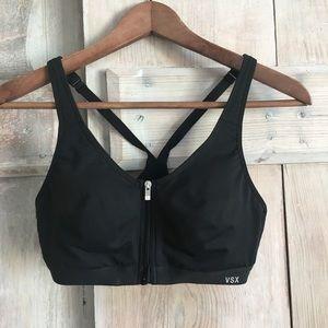 VSX Zipper Front Close Black Sports Bra 34B
